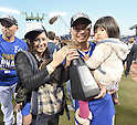 Norichika Aoki (Royals),<br /> OCTOBER 15, 2014 - MLB : Norichika Aoki of the Kansas City Royals celebrates with his wife Sachi and children after winning the Major League Baseball American League Championship Series against the Baltimore Orioles Game 4 at against the Baltimore Orioles at Kauffman Stadium in Kansas City, Missouri, USA. <br /> (Photo by AFLO)