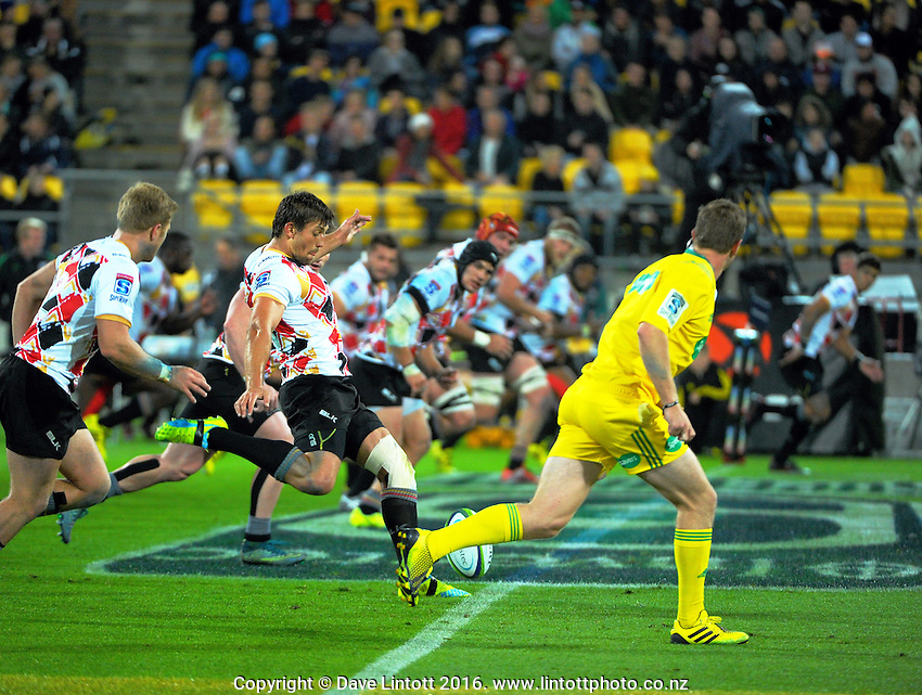Louis Fouche takes a restart during the Super Rugby match between the Hurricanes and Southern Kings at Westpac Stadium, Wellington, New Zealand on Friday, 25 March 2016. Photo: Dave Lintott / lintottphoto.co.nz