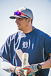 16 March 2014: Detroit Tigers designated hitter Victor Martinez awaits his turn in the batting cage prior to a Spring Training Game against the Washington Nationals at Space Coast Stadium in Viera, Florida. The Tigers edged out the Nationals 2-1 in Grapefruit League play. Mandatory Credit: Ed Wolfstein Photo *** RAW (NEF) Image File Available ***