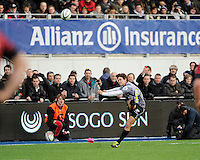 Tim Swiel of Sharks takes a penalty kick during the Sanlam Private Investments Shield match between Saracens and the Cell C Sharks at Allianz Park on Saturday 25th January 2014 (Photo by Rob Munro)