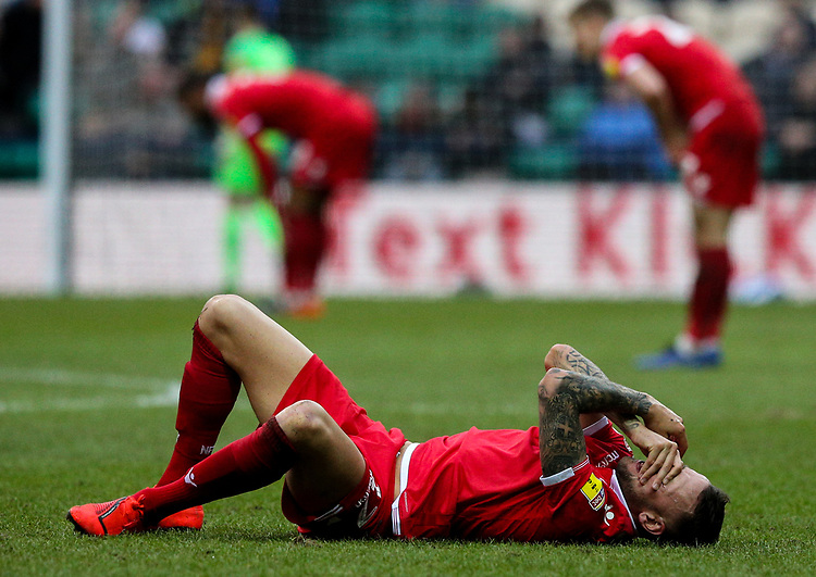 Nottingham Forest's Alexander Milosevic holds his face after  a collision<br /> <br /> Photographer Alex Dodd/CameraSport<br /> <br /> The EFL Sky Bet Championship - Preston North End v Nottingham Forest - Saturday 16th February 2019 - Deepdale Stadium - Preston<br /> <br /> World Copyright © 2019 CameraSport. All rights reserved. 43 Linden Ave. Countesthorpe. Leicester. England. LE8 5PG - Tel: +44 (0) 116 277 4147 - admin@camerasport.com - www.camerasport.com
