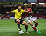 Watford's Nordin Amrabat tussles with Bristol City's Lloyd Kelly during the Carabao cup match at Vicarage Road Stadium, Watford. Picture date 22nd August 2017. Picture credit should read: David Klein/Sportimage