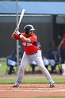 Boston Red Sox minor league catcher Alixon Suarez (25) during an extended spring training game against the Tampa Bay Rays on April 16, 2014 at Charlotte Sports Park in Port Charlotte, Florida.  (Mike Janes/Four Seam Images)