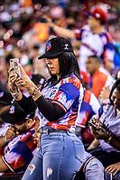 Fan&aacute;ticos de beisbol celebran con el equipo de Republica Dominicana al ganar 7 carreras por 3 a Cuba. Aficionada, Sexi, sexy. Mujer Dominicana. <br /> .<br /> Partido de beisbol de la Serie del Caribe con el encuentro entre los Alazanes de Gamma de Cuba contra las &Aacute;guilas Cibae&ntilde;as de Republica Dominicana en estadio Panamericano en Guadalajara, M&eacute;xico, Lunes 5 feb 2018. <br /> (Foto: Luis Gutierrez)<br /> <br /> .<br /> Baseball game of the Caribbean Series with the match between the Gamma Alazanes of Cuba against the Cibae&ntilde;as Eagles of the Dominican Republic at the Pan American Stadium in Guadalajara, Mexico, Monday, Feb. 5, 2018.<br /> (Photo: Luis Gutierrez)