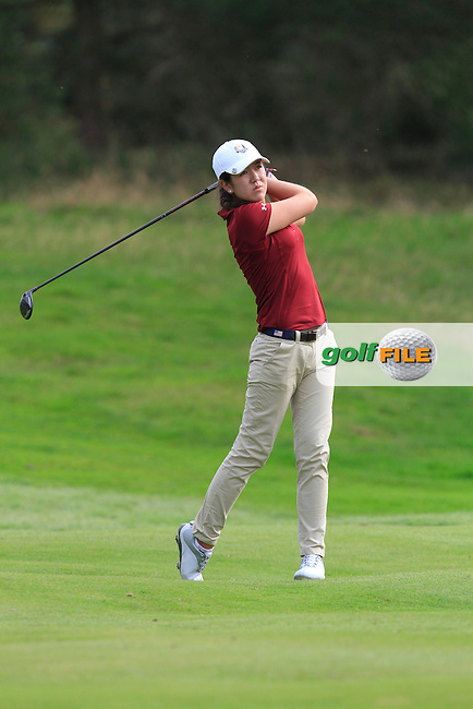 Hannah O'Sullivan (USA) on the 6th hole of the Mixed Fourballs, puts to go two up during the 2014 JUNIOR RYDER CUP at the Blairgowrie Golf Club, Perthshire, Scotland. <br /> Picture:  Thos Caffrey / www.golffile.ie