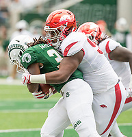 NWA Democrat-Gazette/BEN GOFF @NWABENGOFF<br /> Armon Watts (90), Arkansas defensive lineman, tackles Marcus McElroy, Colorado State running back, in the 1st quarter Saturday, Sept. 8, 2018, at Canvas Stadium in Fort Collins, Colo.