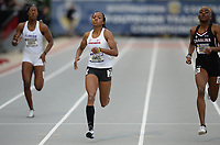 NWA Democrat-Gazette/ANDY SHUPE<br /> Arkansas' Kethlin Campbell (center) comes in to the finish as she competes Saturday, May 11, 2019, in the 400 meters during the SEC Outdoor Track and Field Championships at John McDonnell Field in Fayetteville. Visit nwadg.com/photos to see more photographs from the meet.