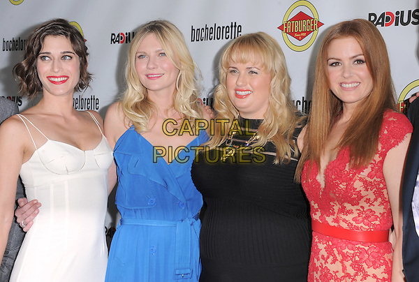 Lizzy Caplan, Kirsten Dunst , Rebel Wilson and Isla Fisher.'Bachelorette' film premiere at The Arclight Theatre in Hollywood, California, USA..23rd August 2012.half length black blue red pink lace sleeveless dress white .CAP/DVS.©DVS/Capital Pictures.