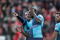Michael Harriman & Aaron Pierre of Wycombe Wanderers after the Sky Bet League 2 match between Leyton Orient and Wycombe Wanderers at the Matchroom Stadium, London, England on 1 April 2017. Photo by Andy Rowland.