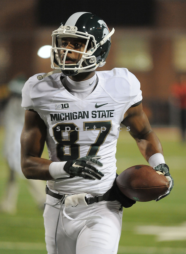 Michigan State Spartans Tres Barksdale (87) during a game against the Maryland Terrapins on November 15, 2014 at Byrd Stadium in College Park, MD. Michigan State beat Maryland 37-15.
