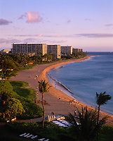Kaanapali Beach and Resorts at Sunset, Maui, Hawaii, USA.