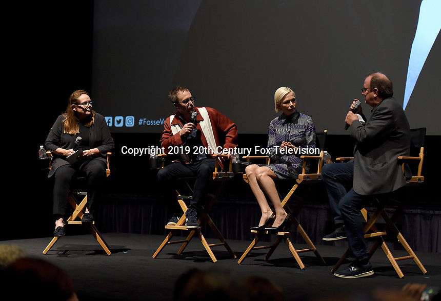 "LOS ANGELES - AUGUST 19: Moderators Madelyn Hammond (L) and Pete Hammond (R) speak with actors Sam Rockwell and Michelle Williams during the AwardsLine Panel screening and conversation for FX's ""Fosse/Verdon"" at the Zanuck Theatre on the Fox Studio Lot on August 19, 2019 in Los Angeles, California. (Photo by Frank Micelotta/FX/PictureGroup)"