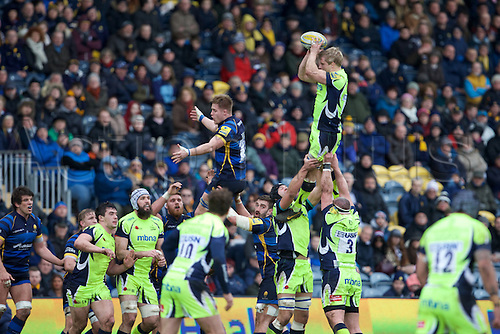 20.02.2016. Sixways Stadium, Worcester, England. Aviva Premiership. Worcester Warriors versus Sale Sharks. Sale Sharks flanker David Seymour wins a line out in front of a packed crowd.