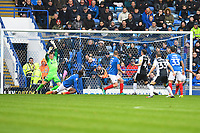 Alex Lacey of Gillingham (4) scores the second goal past Portsmouth keeper Craig MacGillivray during Portsmouth vs Gillingham, Sky Bet EFL League 1 Football at Fratton Park on 6th October 2018