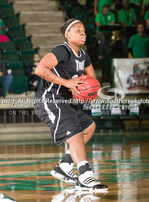 Troy Trojans guard Jasmine Pitts (20) in action during the game between the Troy Trojans and the University of North Texas Mean Green at the North Texas Coliseum,the Super Pit, in Denton, Texas. UNT defeats Troy 57 to 36.