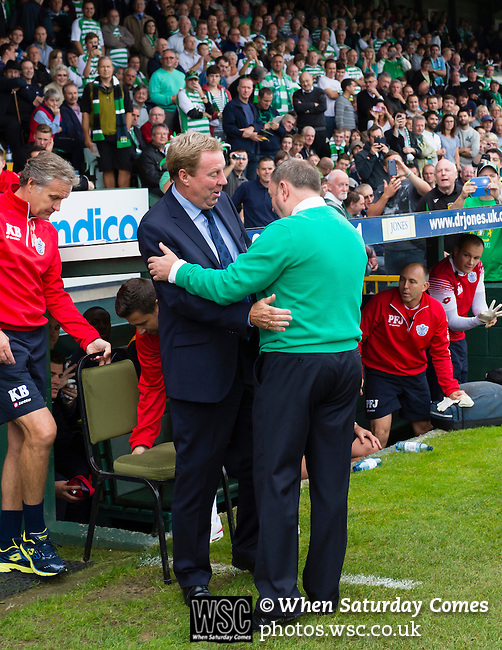 Yeovil Town 0 Queens Park Rangers 1, 21/09/2013. Huish Park, Championship. Gary Johnson and Harry Redknapp embrace before kick off. Photo by Paul Thompson.