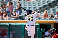 Jabari Blash (36) of the Salt Lake Bees bats against the Albuquerque Isotopes at Smith's Ballpark on April 22, 2018 in Salt Lake City, Utah. The Bees defeated the Isotopes 11-9. (Stephen Smith/Four Seam Images)