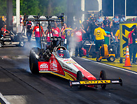 May 4, 2018; Commerce, GA, USA; NHRA top fuel driver Doug Kalitta during qualifying for the Southern Nationals at Atlanta Dragway. Mandatory Credit: Mark J. Rebilas-USA TODAY Sports