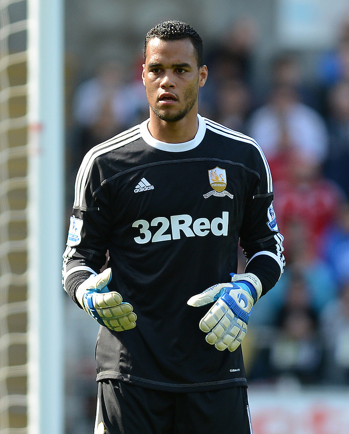 Swansea City's Michel Vorm in action during todays match  ..Football - Barclays Premiership - Swansea City v Everton - Saturday 22nd September 2012 - Liberty Stadium - Swansea..