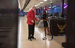 16 APR 2016: Head coach Bill Straub Gazmine and Mason #10 of Nebraska during the Division I Women's Bowling Championship held at the Brunswick Zone Carolier in North Brunswick, NJ.  Stephen F. Austin State won the national title.  Ben Solomon/NCAA Photos