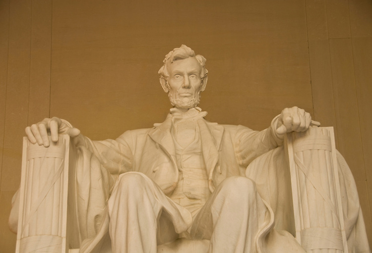 Washington DC; USA: The Lincoln Memorial, Statue of President Abraham Lincoln, on the National Mall.Photo copyright Lee Foster Photo # 4-washdc82640