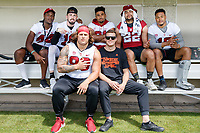 Stanford, CA - April 13, 2019: Stanford Football Cardinal and White Spring Game at Cagan Stadium.  The White Team (defense) won over the Cardinal (offense), 20-14.