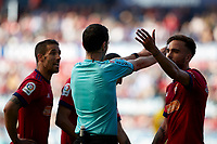 Sagu&eacute;s Oscoz (referee) during the Spanish la League soccer match between CA Osasuna and CD Lugo at Sadar stadium, in Pamplona, Spain, on Saturday, <br /> April 28, 2018.