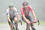 Thomas De Gendt (BEL) Lotto-Soudal and Stephen Cummings (GBR) Team Dimension Data from the breakaway group during Stage 12 of the 104th edition of the Tour de France 2017, running 214.5km from Pau to Peyragudes, France. 13th July 2017.<br /> Picture: ASO/Alex Broadway | Cyclefile<br /> <br /> <br /> All photos usage must carry mandatory copyright credit (&copy; Cyclefile | ASO/Alex Broadway)