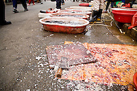Fish scales and knife on street in Chinese market