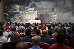 Palestinian President Mahmoud Abbas meets with the delegation of the people of Jerusalem in the West Bank city of Ramallah, on August 5, 2017. Photo by Thaer Ganaim
