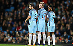 Nolito , Kevin De Bruyne and Raheem Sterling of Manchester City during the English Premier League match at The Etihad Stadium, Manchester. Picture date: December 12th, 2016. Photo credit should read: Lynne Cameron/Sportimage