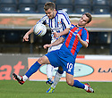 KILMARNOCK'S ALEX PURSEHOUSE IS CAUGHT LATE BY CALEY'S ANDREW SHINNIE