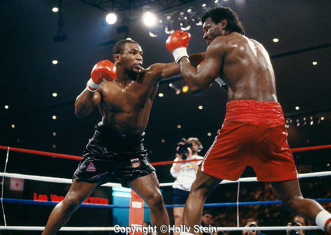 Mike Tyson v. Tony Tucker.  Tyson UD 12rds.  WBC heavyweight title, WBA World heavyweight title, IBF heavyweight title.