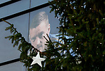 A picture of Leicester City's Jamie Vardy is seen behind a Christmas tree before the Premier League match against Everton at the King Power Stadium, Leicester. Picture date: 1st December 2019. Picture credit should read: Darren Staples/Sportimage