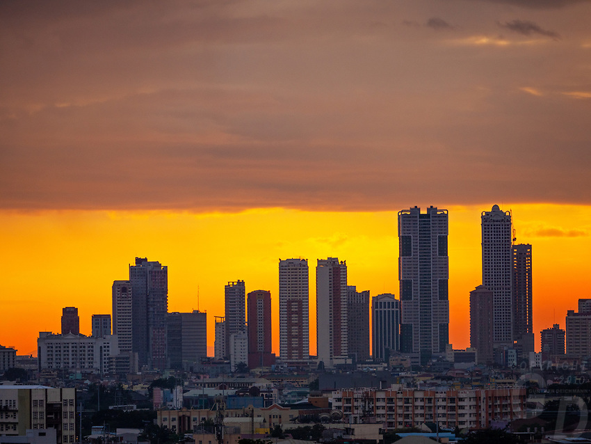 Panoramic Manila Skyline Sunset over Manila,