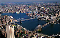 Brooklyn Bridge and the East River from above New York City, USA