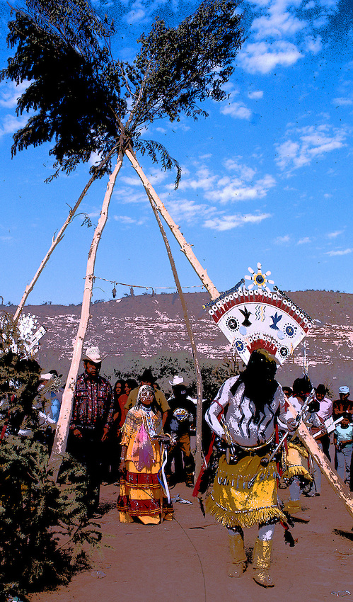 THE APACHE CROWN DANCER IS KEY TO THE SUNRISE CEREMONY CONDUCTED ALL SUMMER BY APACHE MEDICINE MEN WHO PERFORM THE FEMALE PUBERTY RITE. ONLY SAN CARLOS APACHE CROWN DANCERS PERFORM IN DAYLIGHT, THE WHITE MOUNTAIN APACHE DANCERS PERFORM ONLY AT NIGHT.