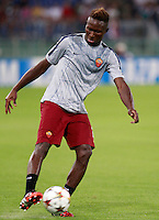 Calcio, Champions League, Gruppo E: Roma vs CSKA Mosca. Roma, stadio Olimpico, 17 settembre 2014.<br /> Roma defender Mapou Yanga-Mbiwa, of France, warms up prior to the start of the Group E Champions League football match between AS Roma and CSKA Moskva at Rome's Olympic stadium, 17 September 2014.<br /> UPDATE IMAGES PRESS/Isabella Bonotto