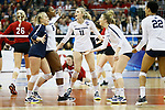 KANSAS CITY, KS - DECEMBER 14: Penn State University  celebrates a point against the University of Nebraska during the Division I Women's Volleyball Semifinals held at Sprint Center on December 14, 2017 in Kansas City, Missouri. (Photo by Tim Nwachukwu/NCAA Photos via Getty Images)
