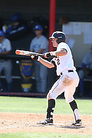 Ryan Raslowsky (2) of the Cal State Northridge Matadors looks to bunt during a game against the UC Santa Barbara Gouchos at Matador Field on April 10, 2015 in Northridge, California. UC Santa Barbara defeated Cal State Northridge, 7-4. (Larry Goren/Four Seam Images)