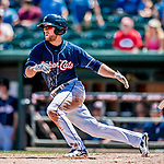 18 July 2018: New Hampshire Fisher Cats infielder Gunnar Heidt in action against the Trenton Thunder at Northeast Delta Dental Stadium in Manchester, NH. The Thunder defeated the Fisher Cats 3-2 concluding a previous game started April 29. Mandatory Credit: Ed Wolfstein Photo *** RAW (NEF) Image File Available ***