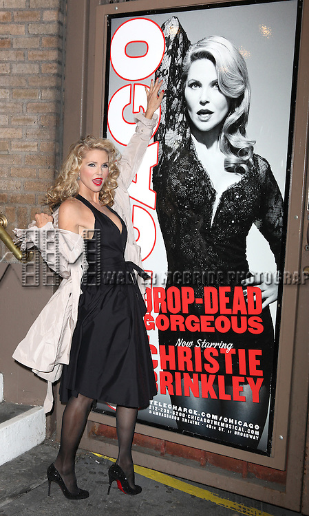 Christie Brinkley at the stage door greeting fans after making her Broadway Debut in CHICAGO at the Ambassador Theatre in New York City.