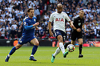 Adrien Silva of Leicester City and Lucas of Tottenham Hotspur during Tottenham Hotspur vs Leicester City, Premier League Football at Wembley Stadium on 13th May 2018