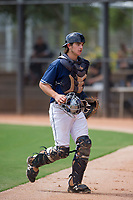 San Diego Padres catcher Jonny Homza (7) jogs to the dugout between innings during an Instructional League game against the Chicago White Sox on September 26, 2017 at Camelback Ranch in Glendale, Arizona. (Zachary Lucy/Four Seam Images)