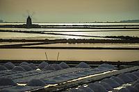 Marsala, (Trapani), Italia. Riserva naturale della Laguna dello Stagnone. La coltivazione del sale. Saline Ettore e Infersa.