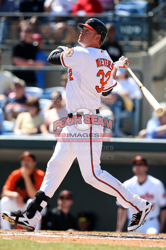March 8, 2010:  Catcher/Designated Hitter Matt Wieters (32) of the Baltimore Orioles during a Spring Training game at Ed Smith Stadium in Sarasota, FL.  Photo By Mike Janes/Four Seam Images
