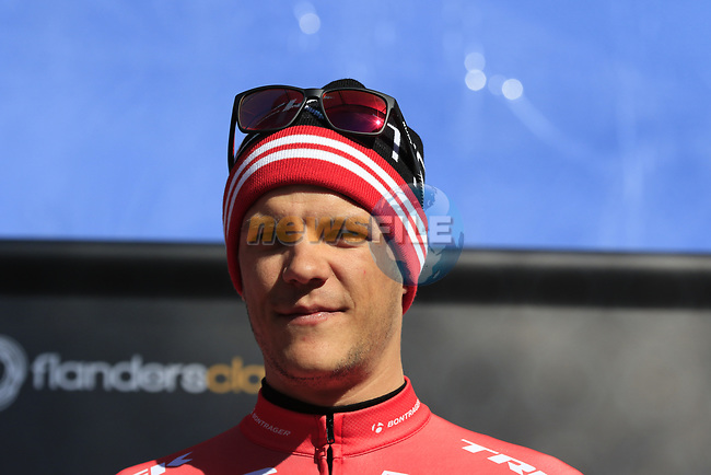 Jasper Stuyven (BEL) Trek-Segafredo at sign on before the start of Gent-Wevelgem in Flanders Fields 2017, running 249km from Denieze to Wevelgem, Flanders, Belgium. 26th March 2017.<br /> Picture: Eoin Clarke | Cyclefile<br /> <br /> <br /> All photos usage must carry mandatory copyright credit (&copy; Cyclefile | Eoin Clarke)
