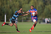 Lolohea Loco looks to fend off Bert Mauele. Counties Manukau Premier Club Rugby game between Ardmore Marist and Weymouth, played at Bruce Pulman Park on May 14th 2016. Ardmore Marist won the game 43 - 7 after leading 17 - 0 at halftime. Photo by Richard Spranger.