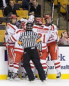 Alex Chiasson (BU - 9), Chris Connolly (BU - 12), Sean Escobedo (BU - 21), Patrick MacGregor (BU - 4) - The Boston University Terriers defeated the Harvard University Crimson 3-1 in the opening round of the 2012 Beanpot on Monday, February 6, 2012, at TD Garden in Boston, Massachusetts.