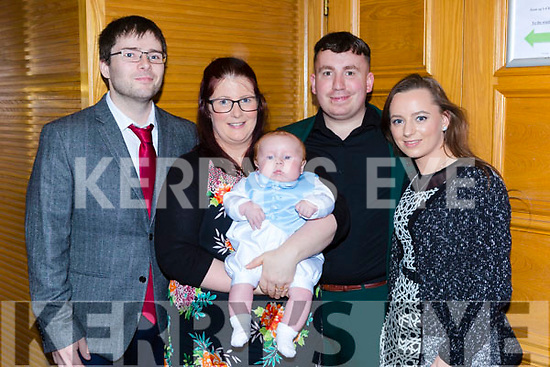 Sean Óg McCarthy celebrated his christening with his parents Sean McCarthy Gneeveguilla and Mary McGillicuddy Tiernaboul and his god parents Jasmine McCarthy and Patrick McGilliuddy in the PLaza Hotel Killarney on Saturday